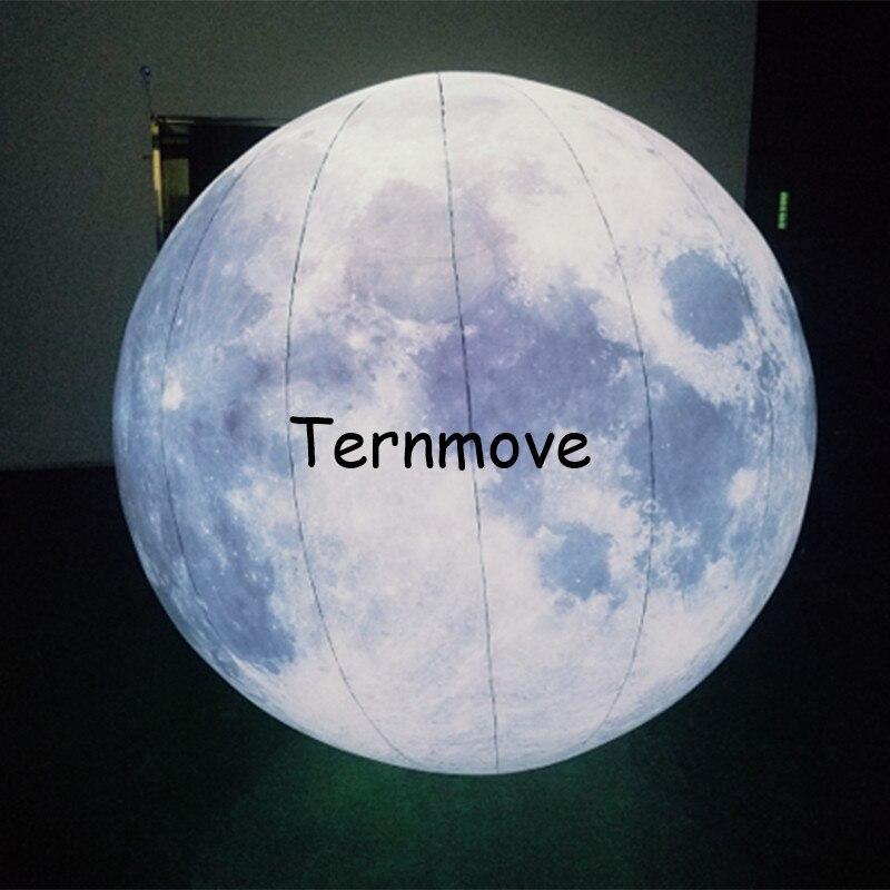 Tamaño personalizado, iluminación inflable, luna/2,5 m, globo de Luna gigante, globo de luz, globo inflable con forma de planetas, globos para decoración