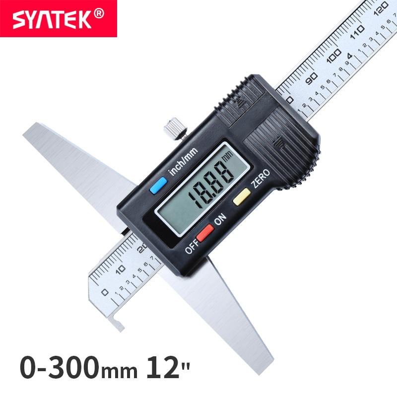 "Syntek 0-300mm 12 ""Único Gancho Profundidade Digital Vernier Caliper Micrômetro de Aço Inoxidável Medidor de Profundidade Eletrônico Digital 300 milímetros CE"