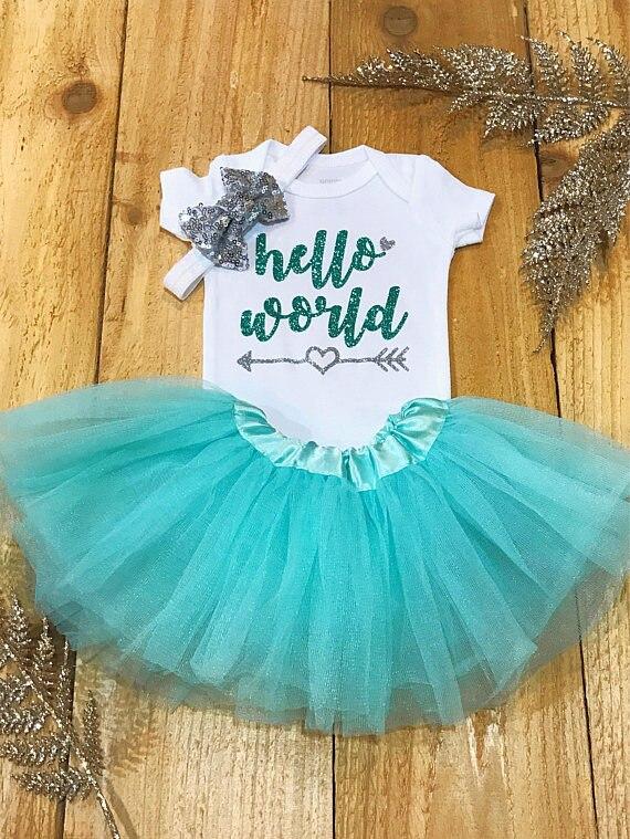 Personalizado olá mundo bebê chá de fraldas chegando em casa recém-nascido infantil bodysuit onepiece tutu vestido macacão conjuntos de roupa festa de aniversário favores