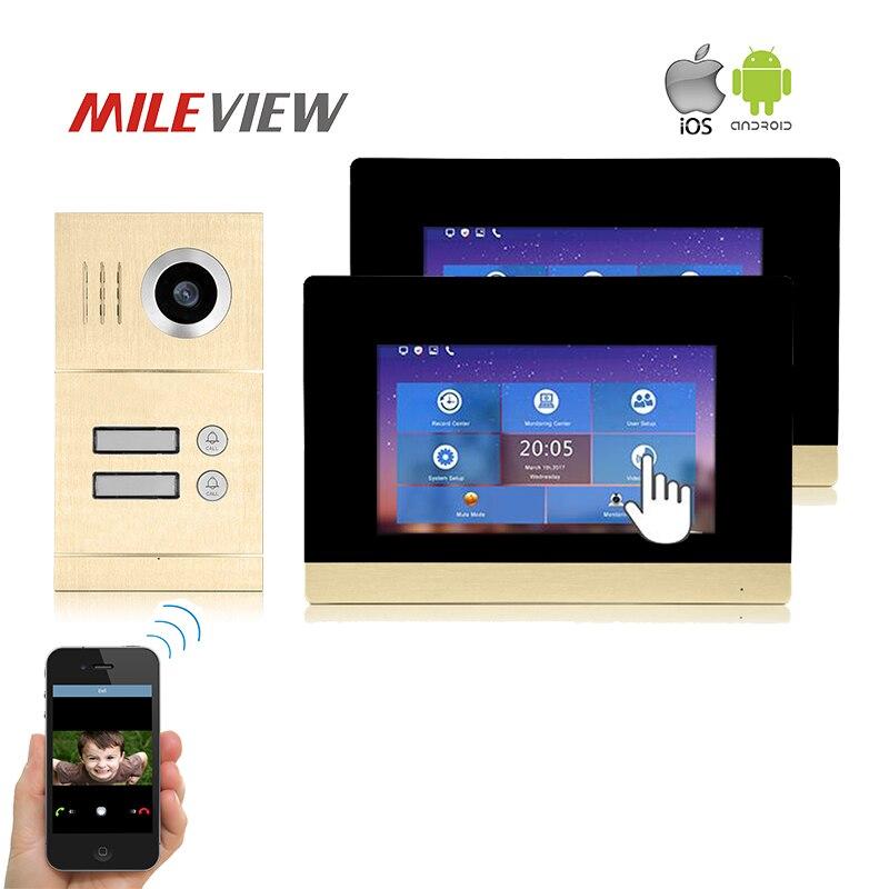 Бесплатная доставка две квартиры 1.0MP 720 P AHD IP 7 &quotсенсорный экран видеодомофон