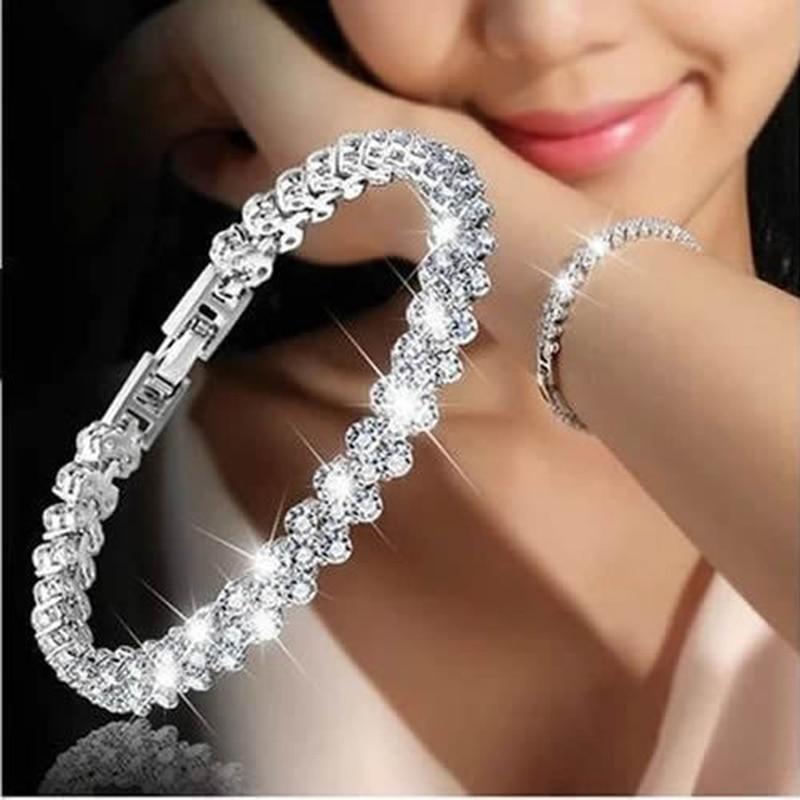 Women Silver Color Rose Gold Bracelet for Female Crystal Heart Charm Bracelet Women Bridal Wedding F