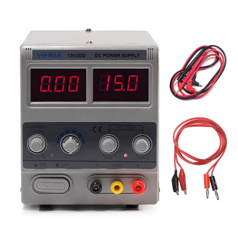 YIHUA-مزود طاقة للمختبرات الصغيرة, مزود طاقة للمختبرات 1502DD صغير قابل للتعديل رقمي لإصلاح الهاتف 15 فولت 2 أمبير منظم الجهد تحويل مصدر طاقة تيار م...