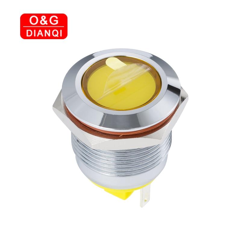 Luz de advertencia 19mm impermeable de Metal indicador de luz 3v 6v 12v 220v Led lámpara para señal de piloto con cable