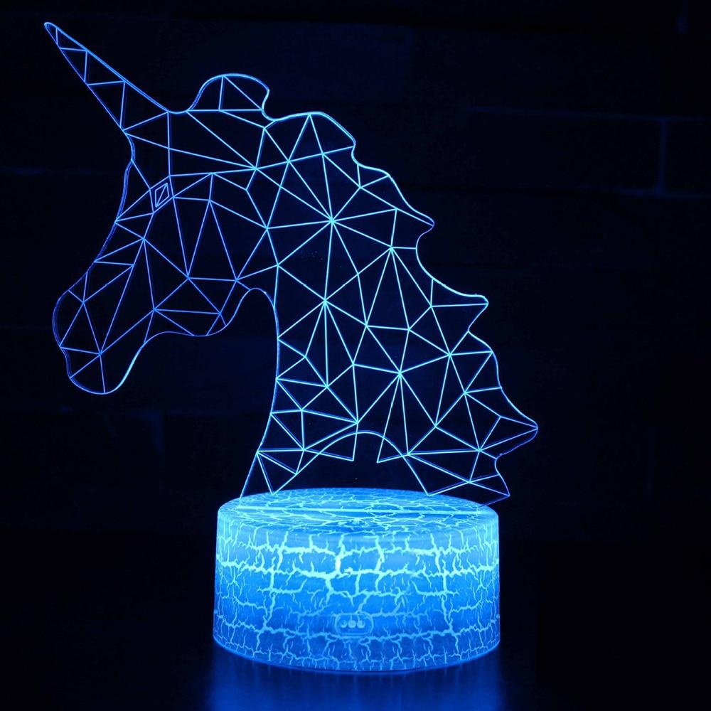 Lampe licorne romantique veilleuse LED lampe de Table 3D LED veilleuse télécommande pour enfants cadeau de noël décoration de la maison D30