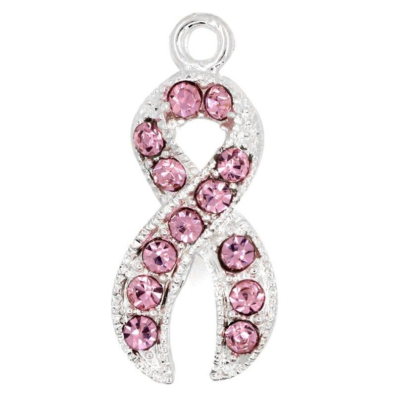 """DoreenBeads, abalorios chapados en plata con diamantes de imitación rosados, lazo de concientización, 28x12mm (1-1/8 """"x1/2""""), 1 unidad"""