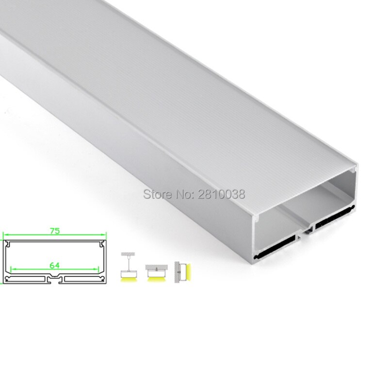 50 X 2M Sets/Lot U shape led profile housing large square type aluminum led extrusions for suspending lights
