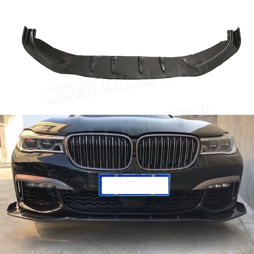 Alerón delantero de fibra de carbono para BMW 7 Series G10 G11 M760 730i 740i 2017-2018 protector de la barbilla del parachoques del coche