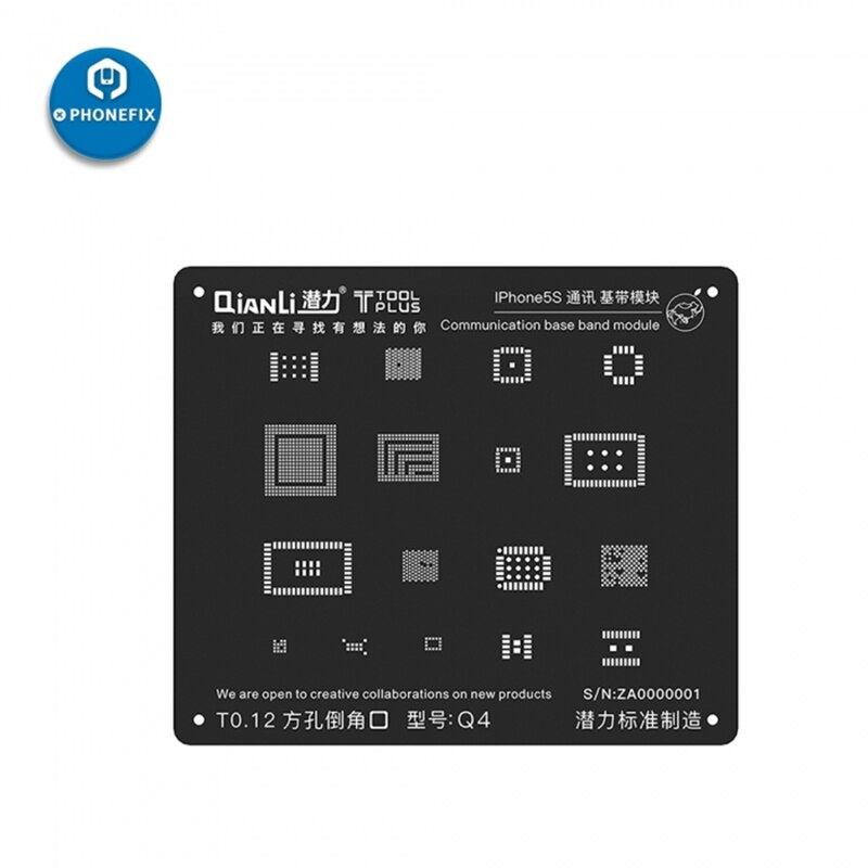 Plantilla iBlack 3D QianLi, módulo de banda base de comunicación BGA, plantilla Reballing para iPhone 5, 5S, 6, 6S, 7G, 7Plus, 8, 8P