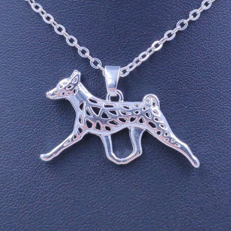 2020 lindo collar Basenji perro Animal colgante oro plateado joyería para Mujeres Hombres Mujeres chicas señoras niños AKC N100