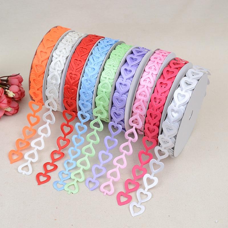 Nuevo melocotón corazón Multicolor en relieve cinturón accesorios ropa 1,8 cm * 20 yardas cinta embalaje caja de regalo cinta