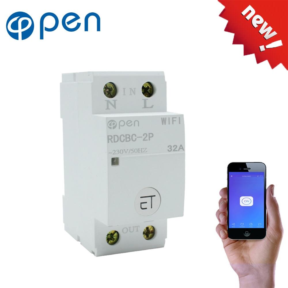 35mm Din Rail WIFI Circuit Breaker Smart Switch Remote control by eWeLink APP for Smart home