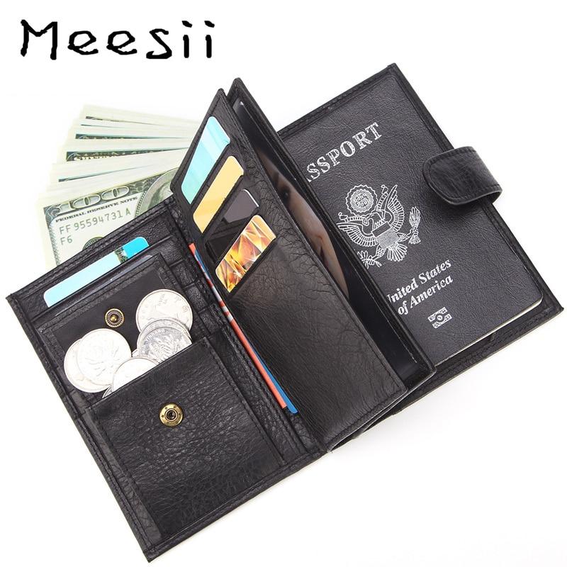 Meesii hommes court en cuir véritable portefeuilles Hasp ouvert carte et porte-photo portefeuille mode souple en cuir de vache poche de passeport