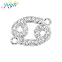 juya micro pave zircon 12 zodiac constellation sign charm connectors for women handmade bracelet earrings making diy accessories