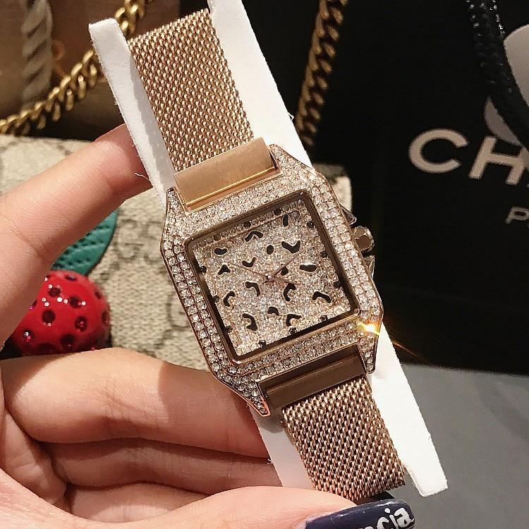 2019 Luxury Brand lady Crystal Watch Women Dress Watch Fashion Rose Gold Quartz Watch Female Stainless Steel Purple Wristwatches
