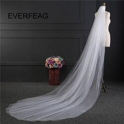 O Véu Do Casamento com Pente Casamento barato 2 Camada Branco Marfim voile de mariee Simples Véus de Noiva véu de noiva 2019 imagem Real