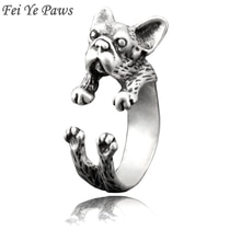 Fei Ye pattes Boho rétro bouledogue français anneau pour animaux de compagnie Anel pour femmes chien Animal Midi doigt anneaux en métal pour filles hommes bijoux idée cadeau
