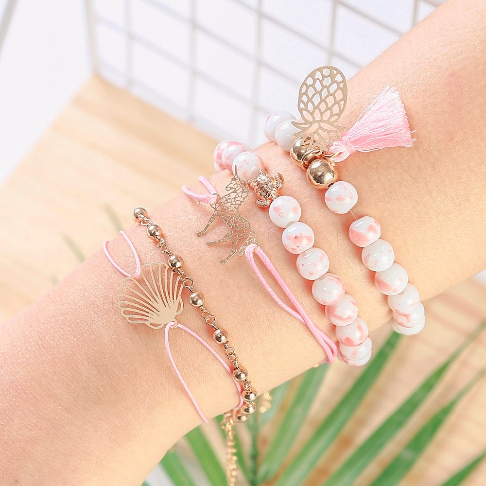 5 unids/set Rosa cuentas con borlas de piña de cadena de tortugas conjuntos de pulseras para las mujeres 2019 de moda bisutería regalos de cumpleaños