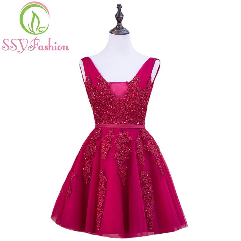 SSYFashion-فستان كوكتيل قصير من الدانتيل ، فستان سهرة ، لون النبيذ الأحمر ، ظهر عاري