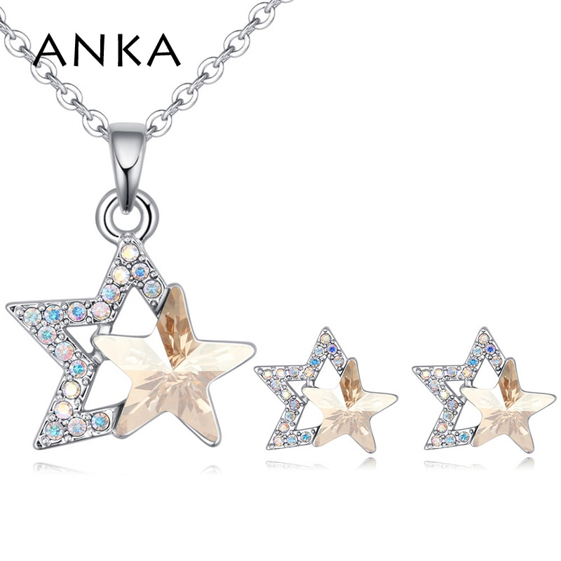 ANKA brand double star shape crystal necklace earring sets for women fashion weddings jewelry sets Crystals from Austria #26473