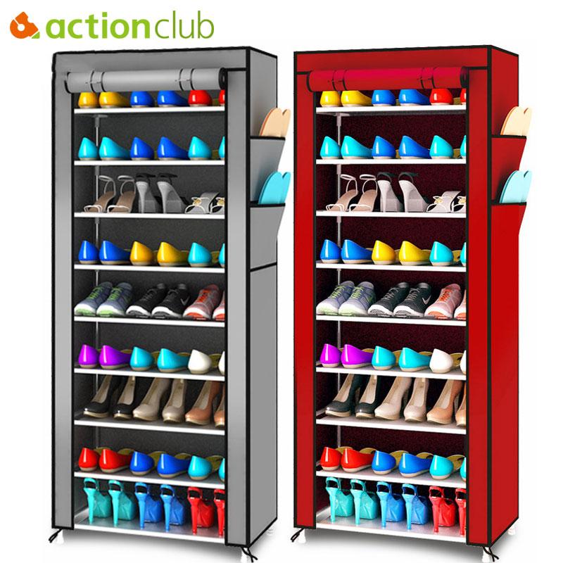Actionclub oxford pano minimalista multi-funcional dustproof sapato armário sapatos cremalheiras 10 camada 9 grade sapato organizador prateleira