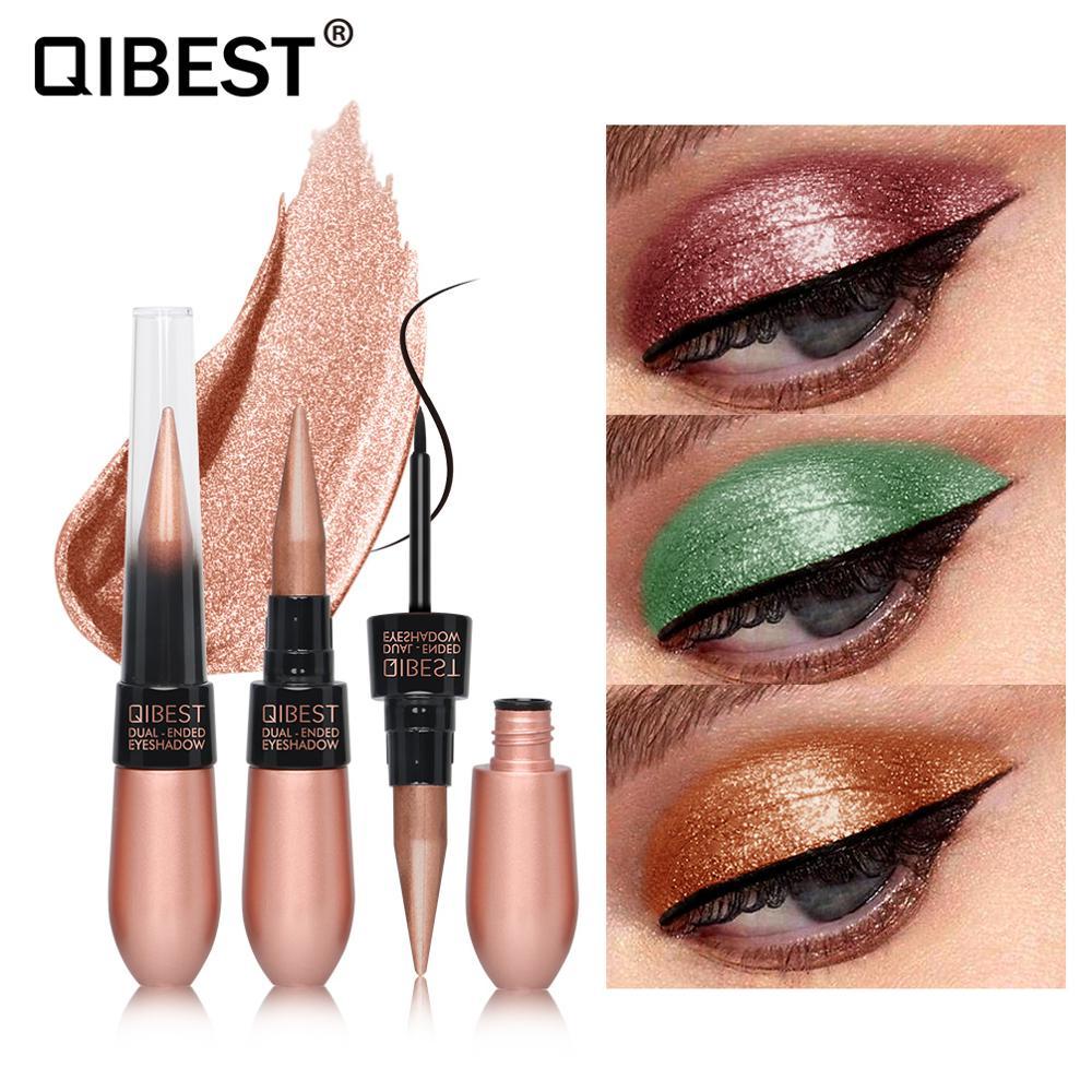 Qibest 15 cores único creme de sombra com delineador à prova dlong água longo lastin balck olho forro shimmer sombra caneta maquiagem