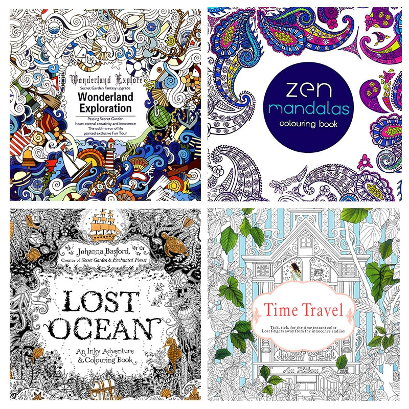 4 Pcs 24 Pages English Version Lost Ocean Time Travel Coloring Book Mandalas Flower For Adult Relieve Stress Drawing Art Book