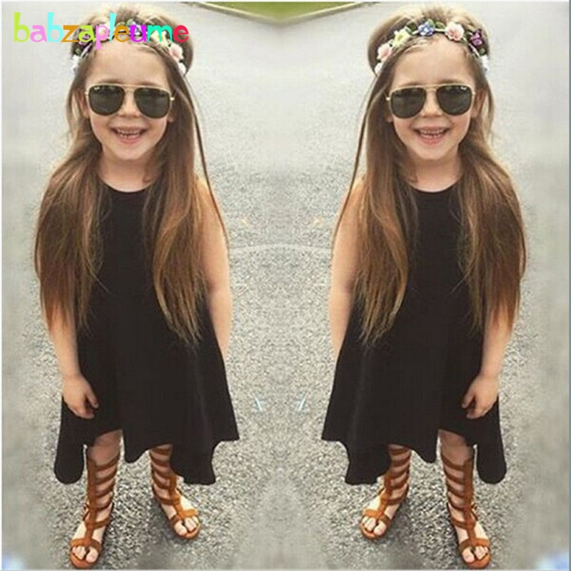 2-6Years/Summer Style Kids Dresses For Baby Girls Clothes Fashion Black Gray Sleeveless Children Dre