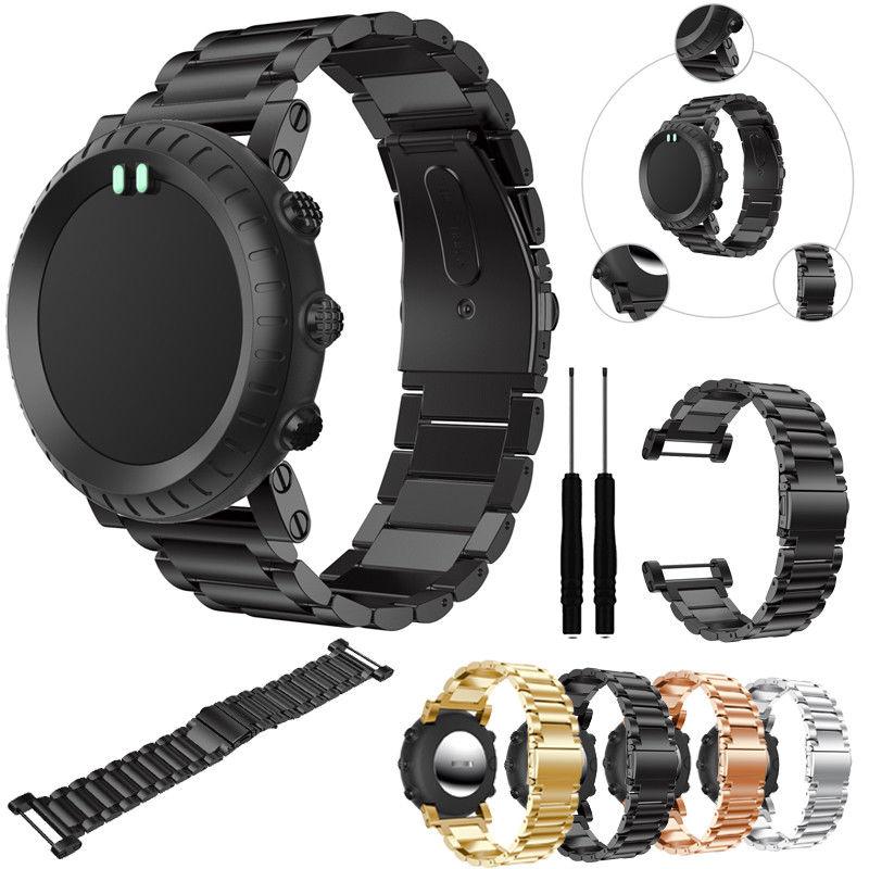 Replacemet aço inoxidável clássico pulseira pulseiras de relógio pulseiras & ferramentas para suunto núcleo todo preto relógio esporte