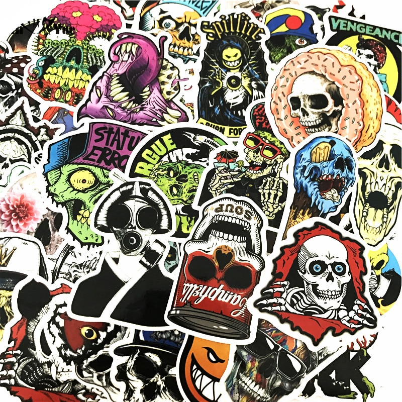 100 pcs horror cool stickers for skateboard motorcycle car styling laptop fridge luggage bicycle graffiti pvc waterproof sticker 50 Pcs Mixed Horror Stickers for Luggage Laptop Skateboard Bicycle Motorcycle Car Styling Decals PVC Cool Waterproof Sticker Toy