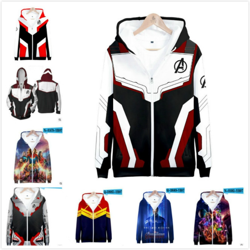 Marvel The Avengers 4 Endgame Quantum Realm Baby Boys Girls Costume Hoodies Men Hooded Family Zipper