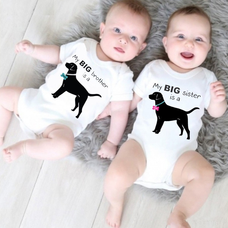 Peleles de algodón para bebés recién nacidos, peleles divertidos para perros, bebés, gemelos, monos de manga corta para bebés, ropa para bebés