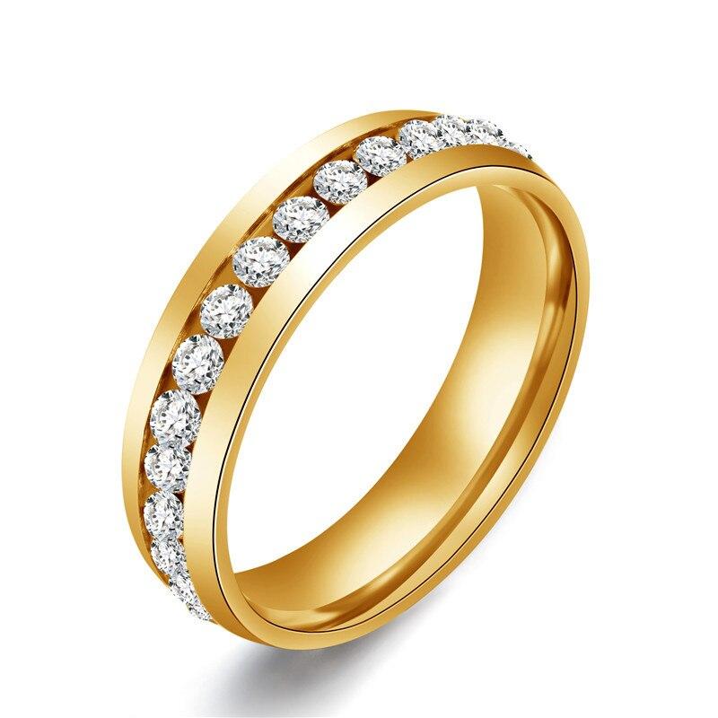 Anillo de acero inoxidable con incrustaciones de diamantes de imitación para mujer,...