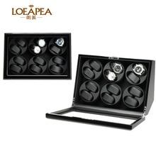 Boîte de remontoir de montre de luxe pour boîte de rangement de montre automatique 4/6/12 avec fenêtre de porte avant et boîte de batterie/boîte cadeau de cadeau danniversaire