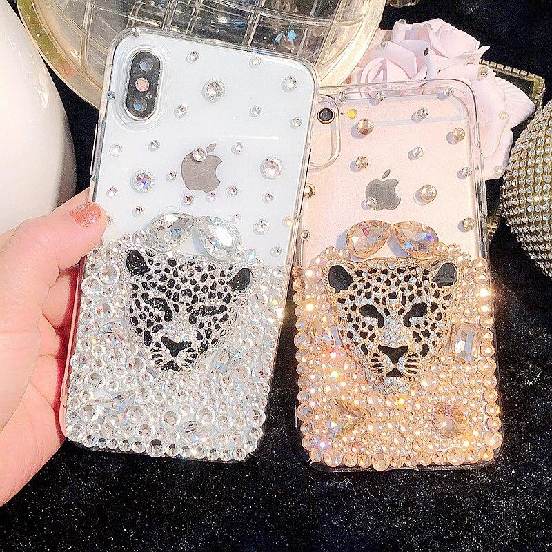 Leopardo de moda caja de diamantes de imitación para Nokia 3 5 5 5 6 6 7 8 9 2018, 2,1, 3,1, 5,1, 6,1 más X5 X6 8 Sirocco
