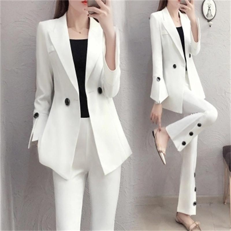 Nova primavera moda magro terno branco feminino temperamento senhoras pequeno vento chifre calças dois conjuntos terno profissional feminino