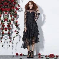 rosetic gothic dress women black autumn mesh see through patchwork layered lace dress asymmetric fashion sexy party goth dresses
