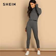 SHEIN Grey Turtleneck Rib-knit Drop Shoulder Crop Top and Leggings Two Piece Sets Women Spring Casual Streetwear Two Piece Set