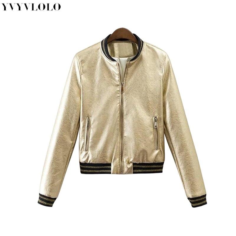 2019 primavera nova marca mulheres bombardeiro jaqueta de couro das mulheres jaqueta de metal cor única breasted jaqueta feminina JQ-9063
