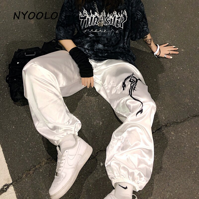 NYOOLO Harajuku stil seidige drachen muster hip hop oversize dünne hosen Sommer streetwear lose elastische taille hosen frauen männer