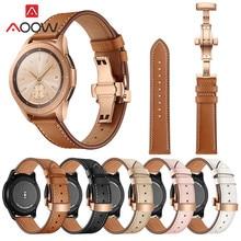 20 Mm 22 Mm Lederen Horlogeband Voor Samsung Galaxy Horloge Actieve 42 Mm 46 Mm Vlinder Gesp Armband Band riem Accessoires