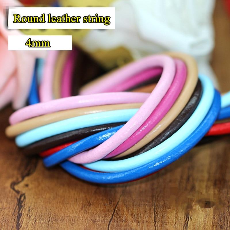 8 colores 4mm x 15m 100% Cordón de cuero Verdadero/Tira/cuerda/cordón redondo DIY joyería collar envío gratis