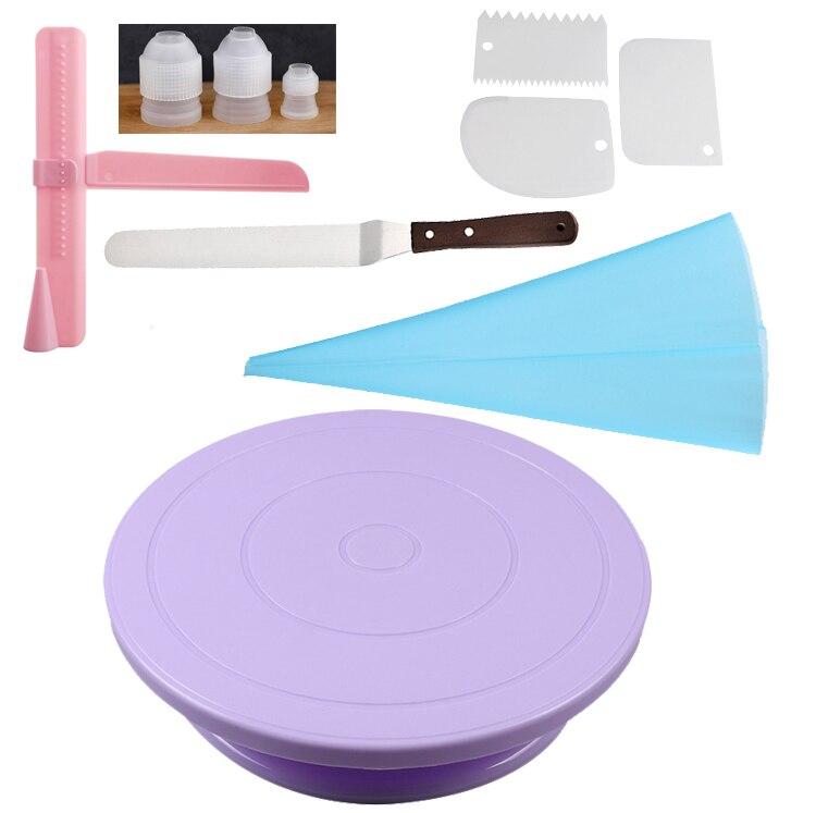 10 unids/set mesa giratoria para pasteles de grado alimenticio soporte giratorio de plástico cuchillo para masa Fondant Pizza herramientas de decoración de pasteles
