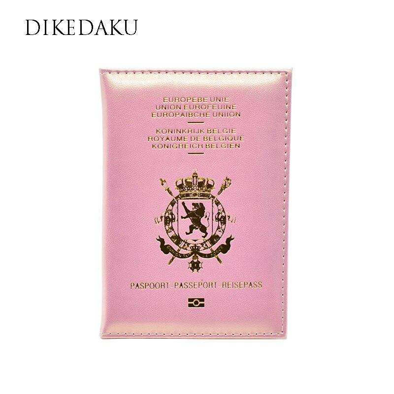 Funda de pasaporte de mujer belga DIKEDAKU, funda de piel rosa de alta calidad para pasaporte, Cartera de pasaporte de viaje multifuncional