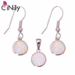 CiNily Created White Fire Opal Silver Plated Jewelry Set Wholesale Retail Fashion for Women Jewelry Pendant Dangle Earrings OT95