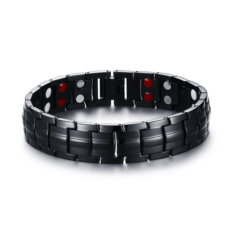 Elegante masculino preto pulseiras titânio aço terapia magnética 2 linha 4 em 1 abeto, íon negativo germânio pulseira masculino jóias 2017