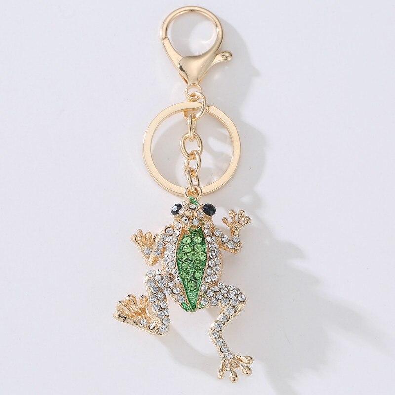 LLavero de cristal de rana de corona único llavero de moda de Metal bolso colgante bolso hebilla llaveros accesorios de regalo