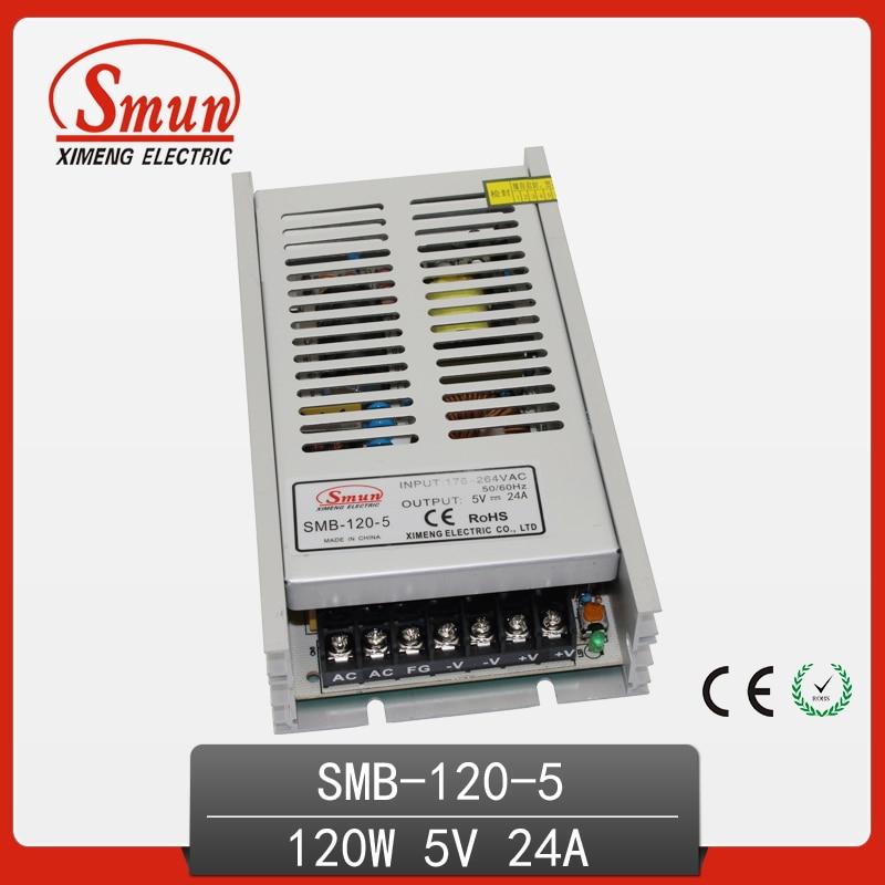 Fuente de alimentación de conmutación de AC-DC de salida única ultrafina de 120W 5V 24A con CE ROHS