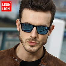 LeonLion 2019 carré lunettes De Soleil polarisées hommes miroir conduite rétro lunettes De Soleil UV400 haute qualité Lunette De Soleil Homme
