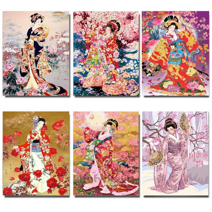 """Diy diamante pintura venta """"Señoras japonesas"""" diamante bordado cuadrado completo diamante pintura 5d diamante mosaico artesanía Decoración"""