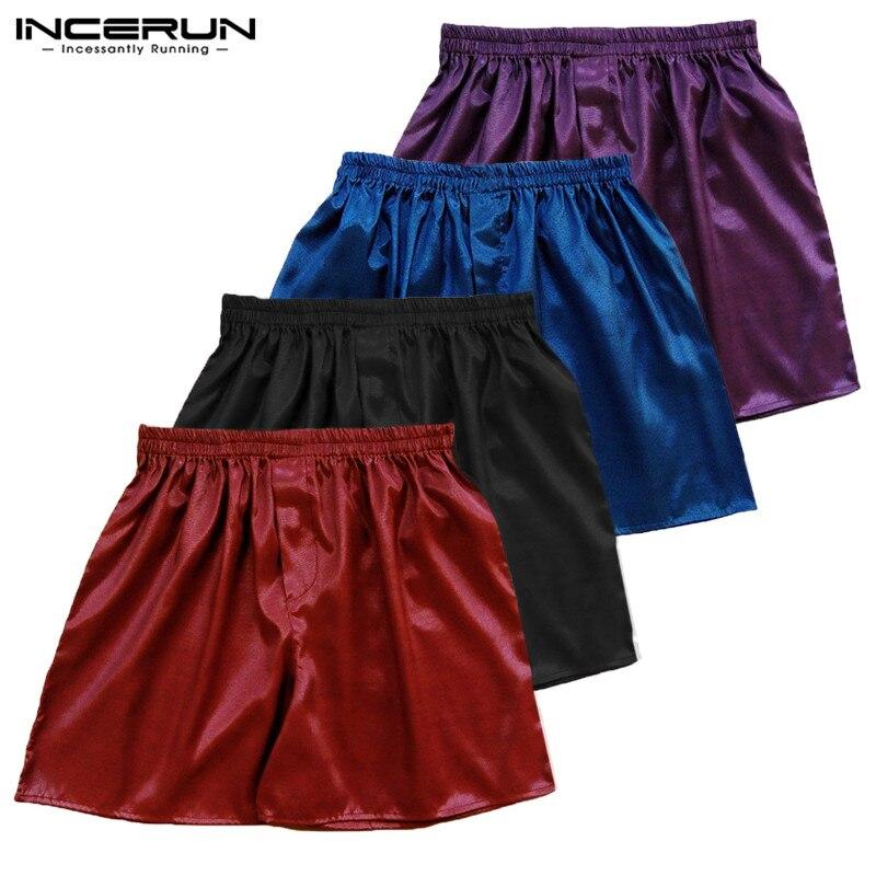 Боксеры мужские шелковые сатиновые, пижамные штаны-боксеры для сна, одежда для сна, домашняя одежда, однотонное горячая Распродажа нижнее б...